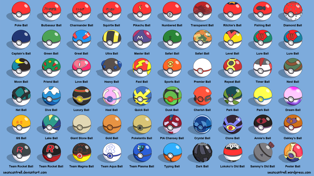 All Poke Balls - Labeled by seancantrell