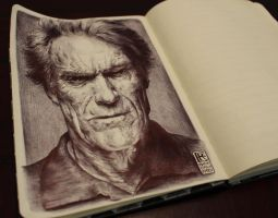 Clint Eastwood by Rafik Emil H - Ballpoint Art by rafikemil