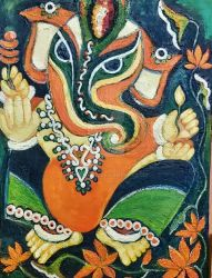 Ganesha with Flowers by manjulak