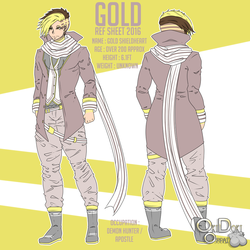 Gold (Human Form) Ref Sheet 2016 by OkiOppai