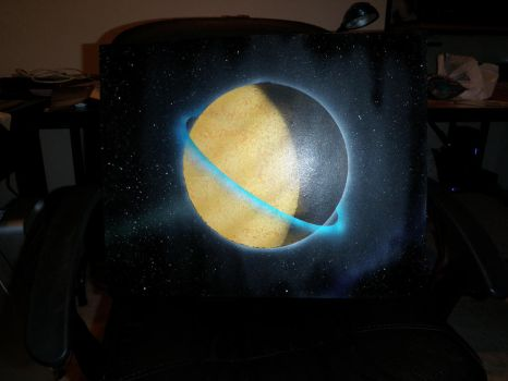 Yellow Planet Blue Ring by IronPython