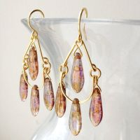 Gold Topaz Luster Chandelier Earrings by lulabug