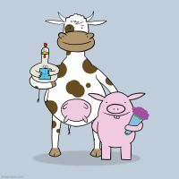 Cow Pig and Chicken, Birthday Surprise by SeanDrawn