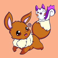 Eevee and Pachirisu by Eriniin