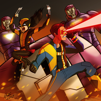 Cyclops and Wolverine (X-23) vs Sentinels by jonathanserrot