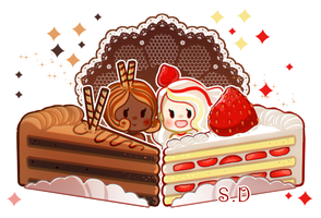 Chocolate N' Strawberry Cake Spritlings by Vocaloid-Mirai