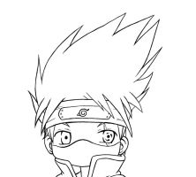 chibi kakashi lineart by HylianSword