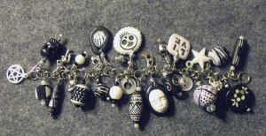 Black and White Charm Bracelet by mintdawn