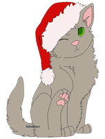 (Free Lines) Merry Christmas - Chubby Kitten by LindsayPrower