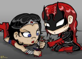 Playtime with Wonder Woman and Batwoman by MsBehavior