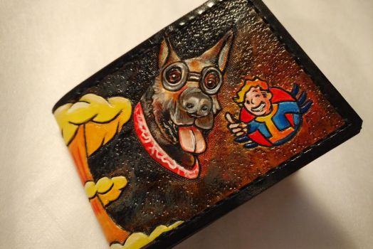 Fallout Dogmeat custom order leather wallet by Bubblypies
