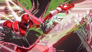 Red Ranger vs putty patrol by Fpeniche