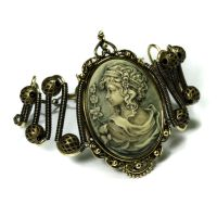Steampunk Bracelet - Dark Green Grecian Cameo by CatherinetteRings