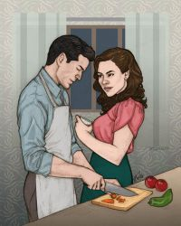 daniel + peggy + cooking by artgyrl