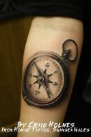 Compass tattoo by CraigHolmesTattoo