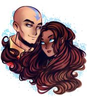 Aang and Katara by AShiori-chan