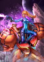Samus Aran in action by cric