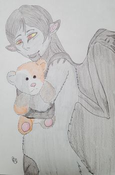 Cynthia and her teddy.:Trade:. by Toboe-chan92