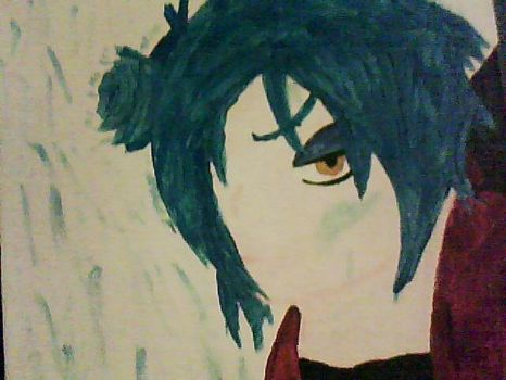 painting of a young Konan in the rain by 78Wit7S