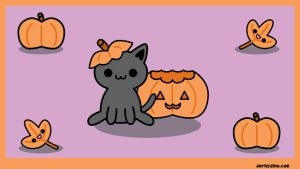 Halloween Kitty Wallpaper by brandimillerart