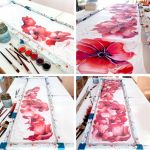 Poppies scarf painting process by MinkuLul