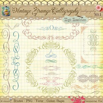 Vintage Calligraphy Borders and Ornaments by starsunflowerstudio