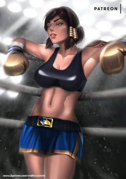 Boxer Pharah - optional NSFW on Patreon by evandromenezes