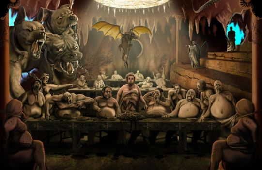 Gluttony, Dante's Inferno by WoodardIllustration
