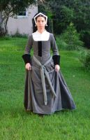 Grey Tudor Gown and Hood by CenturiesSewing