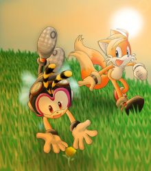 Tails and Charmy-Sunset flower by Tigerfog