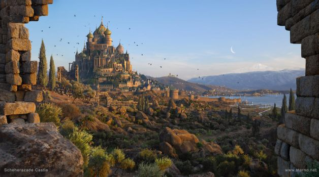 Scheherazade Castle of One Thousand and One Nights by fstarno