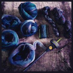 Various stages of the purpley blue yarn by bleaknimue