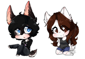 Pixel chibis- COMMISSION for Feroojaws 3/3 by SaltyLen