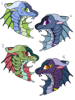Seawing Headshot Adoptables 2/4 open by SoFizzticated