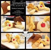 Sleeping Braeburn plushie with hat and vest by JanellesPlushies