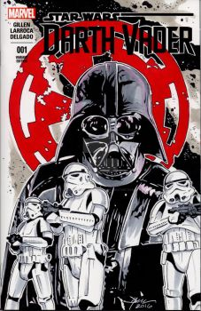 Star Wars Darth Vader Hand Drawn Sketch Cover by sullivanillustration