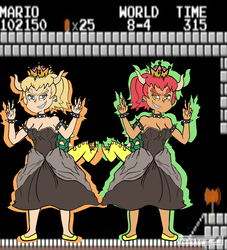 Bowsette-Blonde and Redhair by PenciltipWorkshop