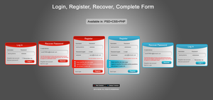 Login, Register, Recover, Complete Form by GFX-AEON