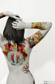Hillary's Tattoos (Back) by CGrommeshPhotography