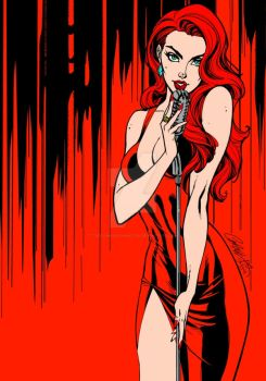 Ravishing Red By J. Scott Campbell (Colored) by TheComicBookMaster