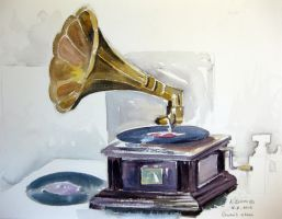 Watercolor gramophone by karincharlotte