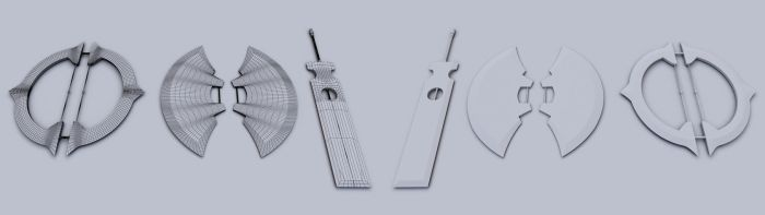 Weapon Set Base models and wireframes by JWright-3D-Graphics