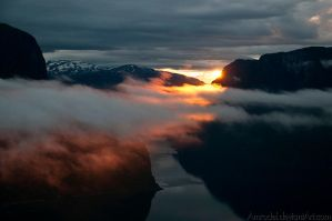 Sunset in Fjord by amrodel