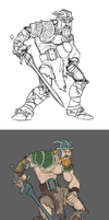 Barbarian Painting: Stages by RedBladeStudios