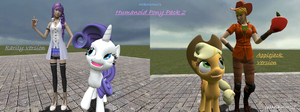 Humanoid Pony Pack: Rarity and Applejack(With fix) by MikotoNui