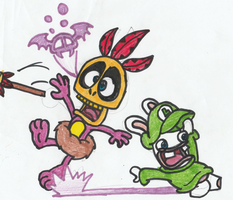 Rabbid Luigi Vs. Mumbo Jumbo by DrQuack64
