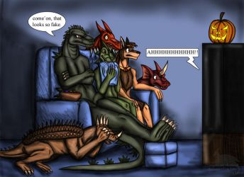 Monster movie night by BlueRavenfire