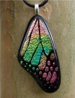Pnk and Gr Glass Rainbow Wing by FusedElegance