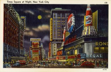Night Scene Postcards - Times Square, NYC by Yesterdays-Paper