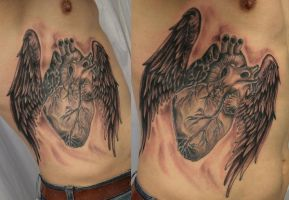 realistic heart wings ready by 2Face-Tattoo